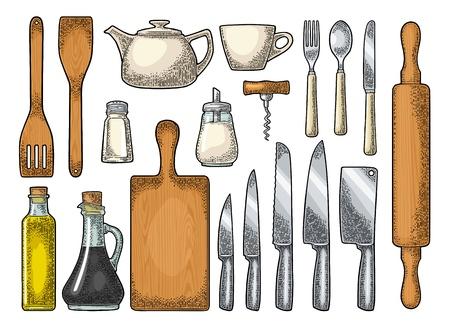 Set Kitchen utensils Vector vintage engraving