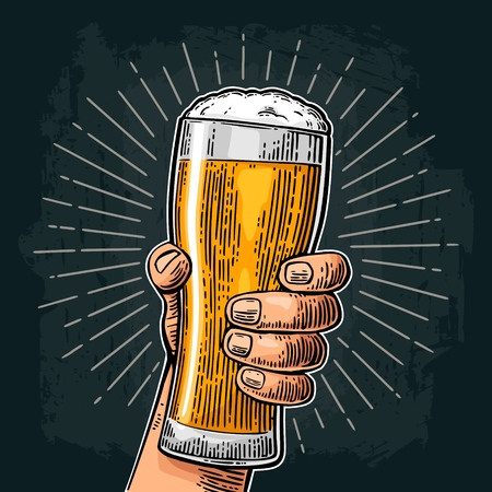 Male hand holding a beer glass with ray. Vintage color vector engraving illustration for web, poster, invitation to party or festival. Isolated on dark background