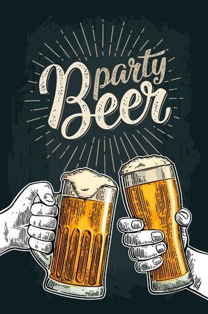 Two male hands holding and clinking glasses mug. Beer party calligraphic handwriting lettering. Vintage vector color engraving for invitation. Isolated on dark background. Hand drawn design element
