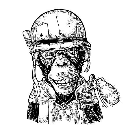 Monkey in soldier helmet holding grenade Vintage black engraving