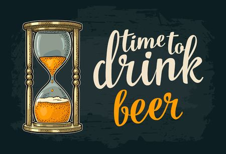 Hourglass illustration with Time to drink beer lettering on a dark background.