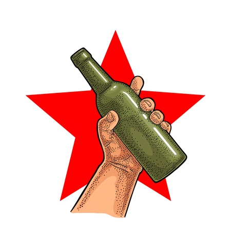 Man hand holding open beer bottle. Vintage vector color engraving illustration for web, poster, invitation to party. Isolated on red star.