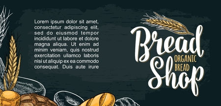 Horizontal posters for bread organic shop with lettering. Isolated on the black background. Vector color hand drawn vintage engraving illustration for label, menu bakery shop.