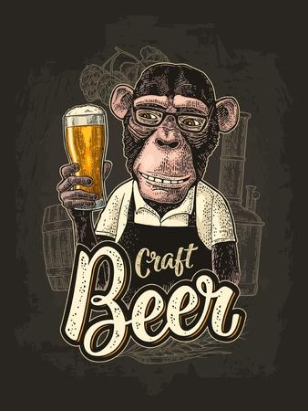Monkey dressed apron hold beer glass. Vintage color engraving Illustration