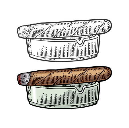 Cigar and ashtray. Vector vintage engraving black and color illustration isolated on white background.