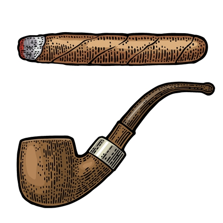 Pipe and cigar. Vector engraving vintage color illustration isolated on white background. 向量圖像