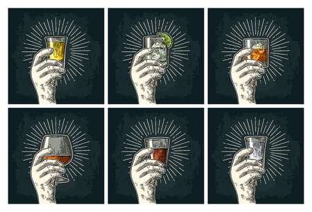 Male hand holding glass with brandy, tequila, gin, vodka, rum, whiskey. Illustration
