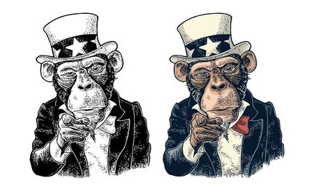 Monkey Uncle Sam met wijzende vinger op kijker, van voren. Ik wil jou. Vintage kleur gravure illustratie voor het werven van poster. Geïsoleerd op witte achtergrond Hand getrokken ontwerpelement