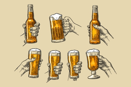 Man and woman hands holding and clinking with beer glass and open beer bottle. Vintage vector color engraving illustration for web, poster, invitation to party. Isolated on beige background.