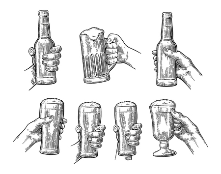 Man and woman hands holding and clinking with beer glass and open beer bottle. Vintage vector black engraving illustration for web, poster, invitation to party. Isolated on white background.