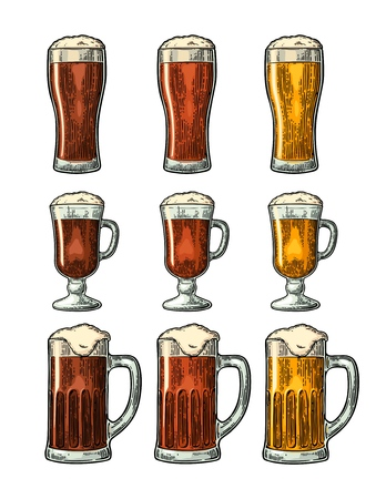Glass with three types beer. Vintage color vector engraving Illustration