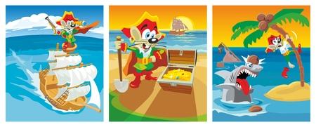 Comics mouse pirate found a treasure. Vector flat illustration