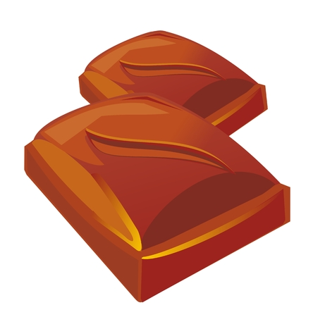 Two chocolate pieces. Vector flat color illustration Illustration