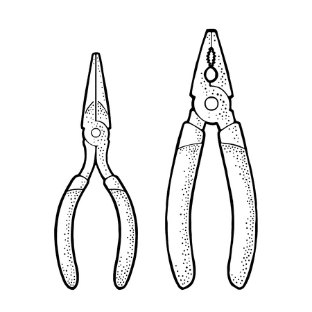 Pliers. Vintage vector engraving illustration