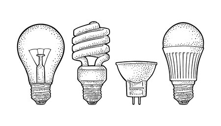 Evolution type electric lamp. Incandescent bulb, halogen, cfl and led. Иллюстрация