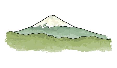 Mountain Fuji in Japan. Vintage color vector engraving illustration for poster, label, web. Isolated on white background. Hand drawn design element
