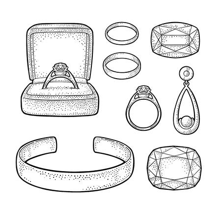 Set jewelry. Vintage color vector engraving illustration Illustration