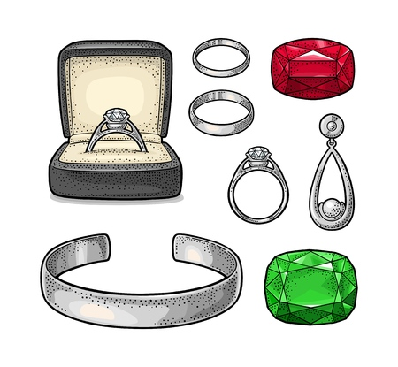 Set jewelry. Vintage color vector engraving illustration Illustration