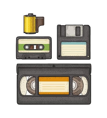 Set retro technology object. Vintage vector black engraving illustration Ilustração