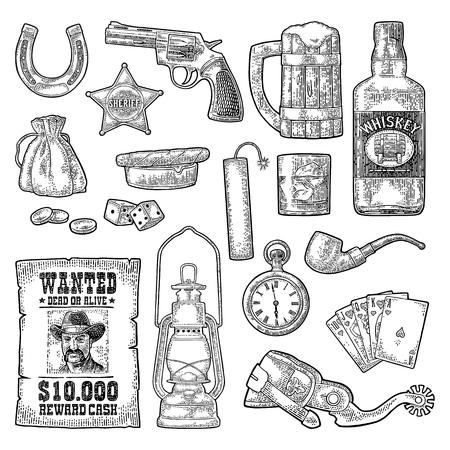 Set with Wild West and casino symbols. Vector vintage engraving black illustration Illustration