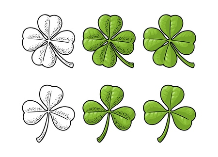 Good luck four and three leaf clover. Vintage color and black vector engraving illustration isolated on white background. Ilustração