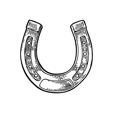 Horseshoe. Vintage vector engraving illustration for info graphic, poster, web. Black on white background.