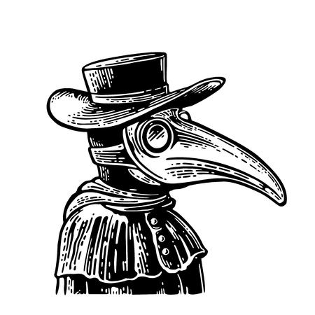 Doctor de la peste con máscara de pájaro y sombrero. Ilustración de grabado vintage vector negro aislado en un fondo blanco. Para póster y libro