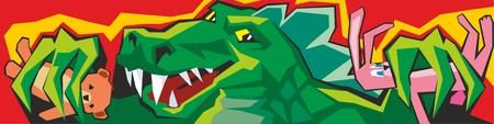 Cartoon Godzilla Vector color flat illustration for Claw Machine Illustration