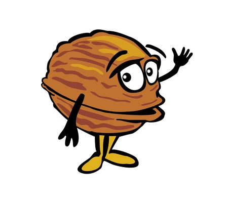 Walnut waves his hand. Color vector flat illustration isolated on white background.