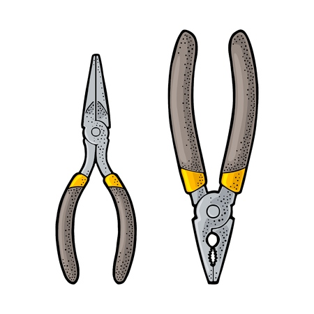 Pliers. Hand drawn in a graphic style. Vintage vector color engraving illustration for info graphic, poster, web. Isolated on white background Ilustração
