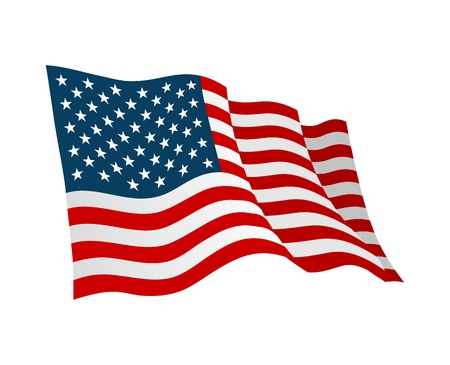 American flag. Vector flat color illustration isolated on white background.