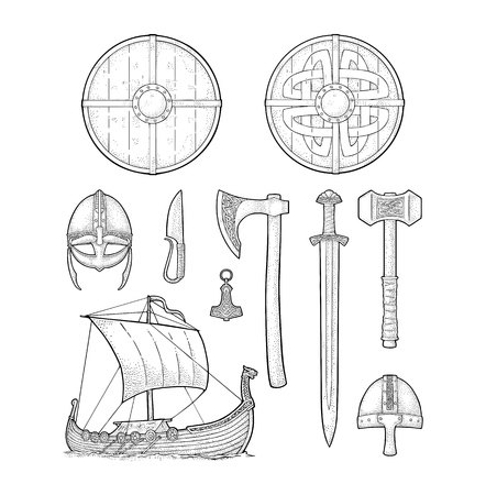 Set viking. Knife, drakkar, axe, helmet, sword, hammer, thor amulet with runes. Vintage vector black engraving illustration isolated on white background. Hand drawn design element for poster, label, tattoo Ilustração