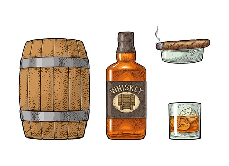 Whiskey glass with ice cubes, barrel, bottle and cigar. Vector vintage color illustration for label, poster, invitation to a party. Isolated on white background. Hand drawn design element.