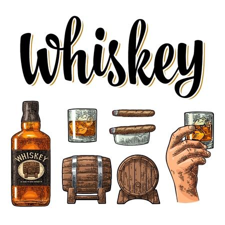 Kieliszek do whisky z kostkami lodu, beczka, męska ręka, popielniczka, butelka i cygaro. Wektor grawerowanie vintage kolor na białym tle. Ręcznie rysowane element projektu na plakat, zaproszenie na imprezę