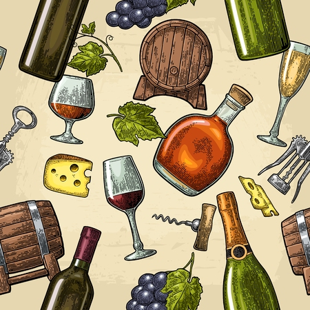 Seamless pattern drinks made from grapes. Wine, brandy, champagne bottle, glass, barrel, cheese, bunch of grapes with berry. Vintage color engraving vector illustration isolated on beige background.