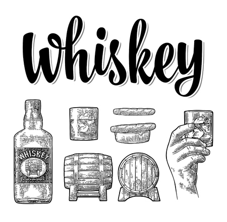 Whiskey glass with ice cubes, barrel, male hand, ashtray, bottle and cigar. Vector vintage black engraving isolated on white background. Hand drawn design element for poster, invitation to party Vettoriali