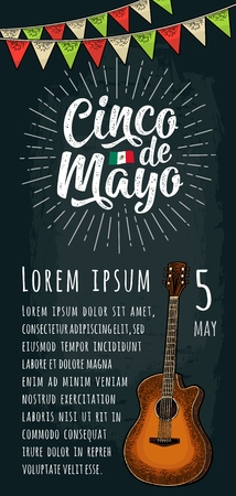 Cinco de Mayo handwriting lettering with ray, garland and guitar. Vector color vintage engraving illustration on dark background. Vector color vintage engraving illustration for vertical poster