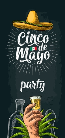 Cinco de Mayo party lettering. Hand holding glass tequila, bottle, sombrero. Vector vintage color engraving illustration on dark background Çizim
