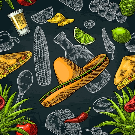 Seamless pattern of Mexican food.