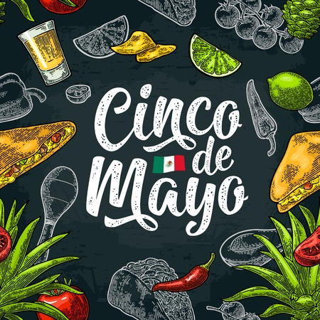Seamless pattern mexican food and Cinco de Mayo handwriting lettering. Glass tequila, tacos nachos, and vegetables. Vector color vintage engraving illustration for menu. Isolated on dark background Illustration