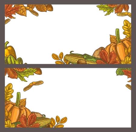 호박, 옥수수, 잎 단풍 나무, 도토리, 씨앗 밤 인사말 카드 및 포스터 추수 감사절에 대 한 템플릿. 벡터 빈티지 컬러 조각 그림 흰색 배경에 고립. 일러스트