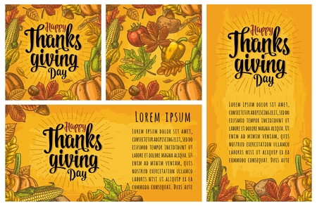Seamless pattern and poster with Happy thanksgiving Day calligraphy lettering. Vector color engraving illustration pumpkin, corn, leaf maple, acorn, seed chestnut on yellow vintage background.