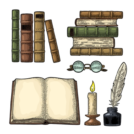 Set education. Inkwell with feather, pile of old books, glasses, candle. Isolated on white background. Vector color vintage engraving illustration. Hand draw in a graphic style.