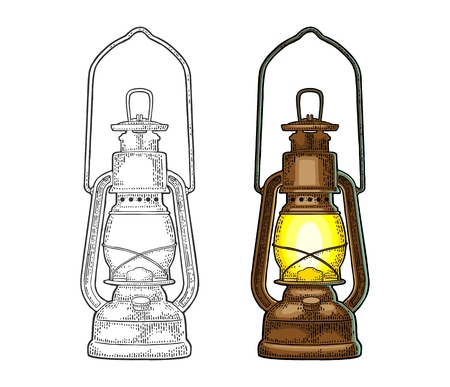 Antique retro gas lamp. Vintage color engraving illustration for poster, web. Isolated on white background.