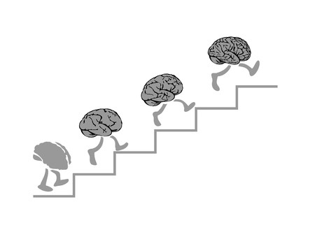Brains run are climbing the stairs, the Smartest - the Higher. People brain following the leader creative man. Flat vector illustration on background black.