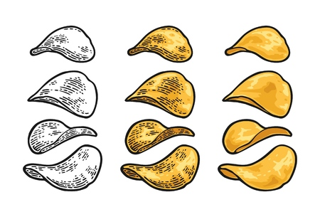 Potato chips vector engraving vintage color illustration isolated on white background. Hand drawn design element for label and poster.