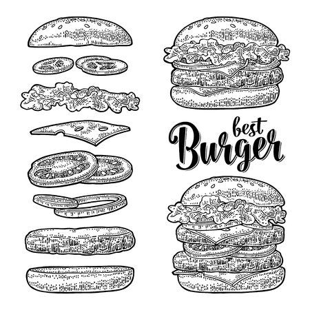 Double and classic burger with flying ingredients include bun, tomato, salad, cheese, onion, cucumber. Best burger lettering. Vector black vintage engraving Illustration isolated on white background