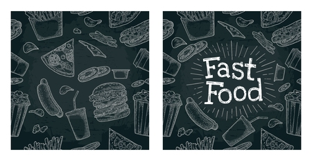 Seamless pattern fast food on white engraving illustration isolated on dark background