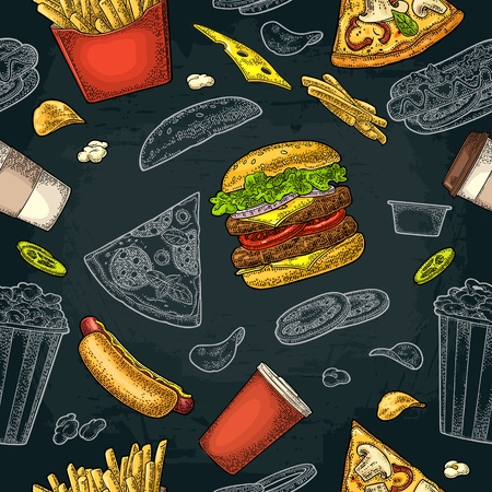Seamless pattern fast food in colored and white engraving illustration isolated on dark background Ilustracja