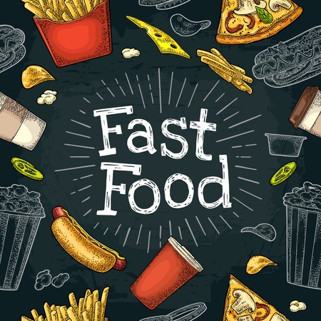 Seamless pattern fast food in colored and white engraving illustration isolated on dark background Illustration